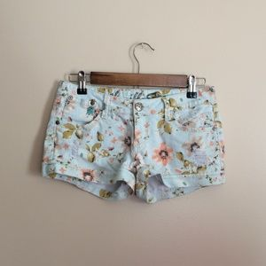 Vanilla Star Distressed Pastel Floral Shorts